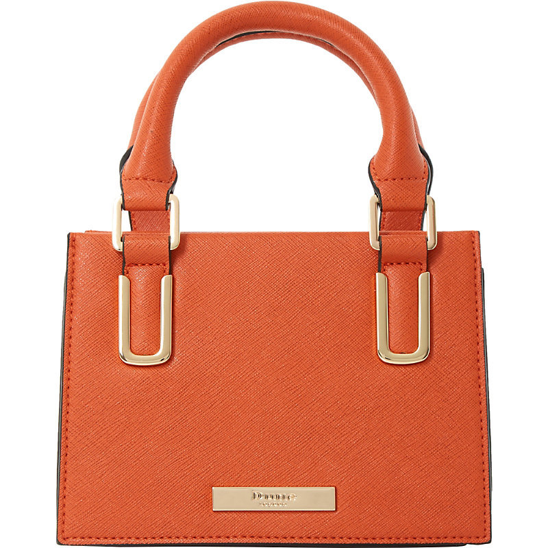Scarlett Top Handle Mini Bag, Women's, Orange Plain Synthetic - predominant colour: bright orange; occasions: casual, creative work; type of pattern: standard; style: grab bag; length: handle; size: mini; material: faux leather; pattern: plain; finish: plain; season: s/s 2016; wardrobe: highlight