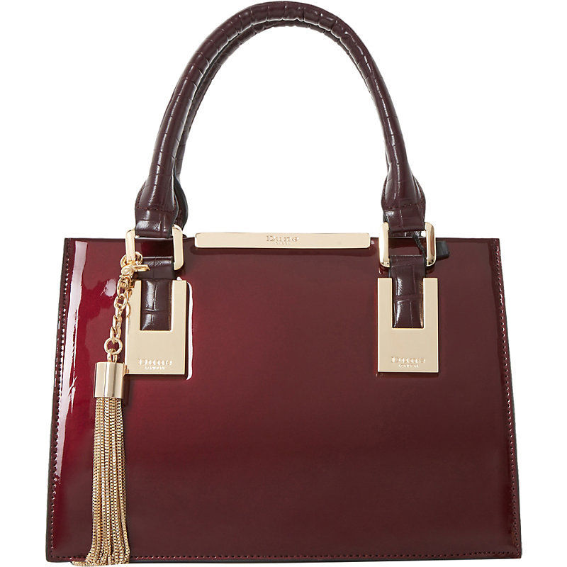 Dinideedee Patent Leather Mini Tote, Women's, Berry Patent - predominant colour: burgundy; type of pattern: standard; style: tote; length: handle; size: standard; material: leather; embellishment: tassels; pattern: plain; finish: patent; occasions: creative work; season: s/s 2016; wardrobe: highlight