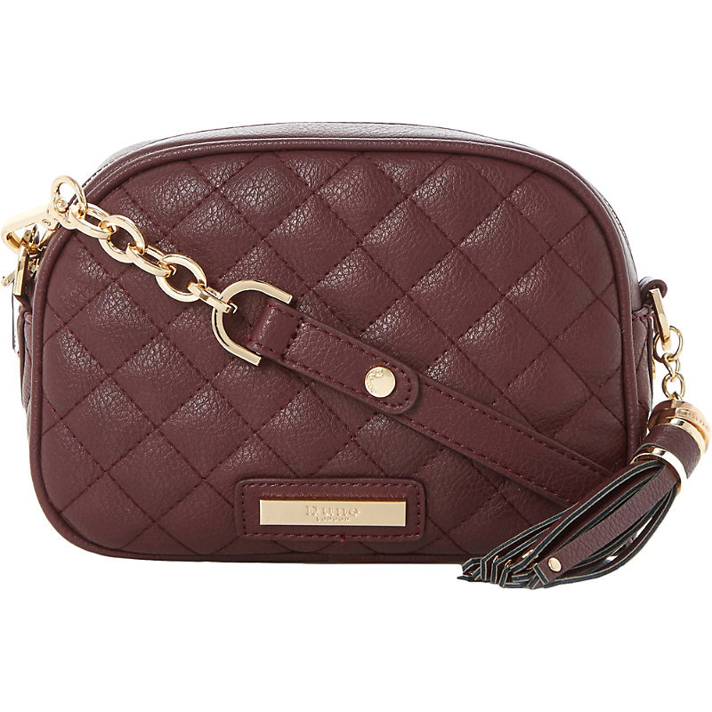 Dettian Faux Leather Cross Body Bag, Women's, Maroon - predominant colour: burgundy; secondary colour: gold; occasions: casual, creative work; type of pattern: standard; style: shoulder; length: across body/long; size: small; material: faux leather; embellishment: quilted; pattern: plain; finish: plain; season: s/s 2016; wardrobe: highlight