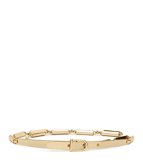 Charlie Metal Chain Belt - predominant colour: gold; occasions: casual, creative work; type of pattern: standard; style: classic; size: skinny; worn on: waist; material: leather; pattern: plain; finish: plain; season: s/s 2016