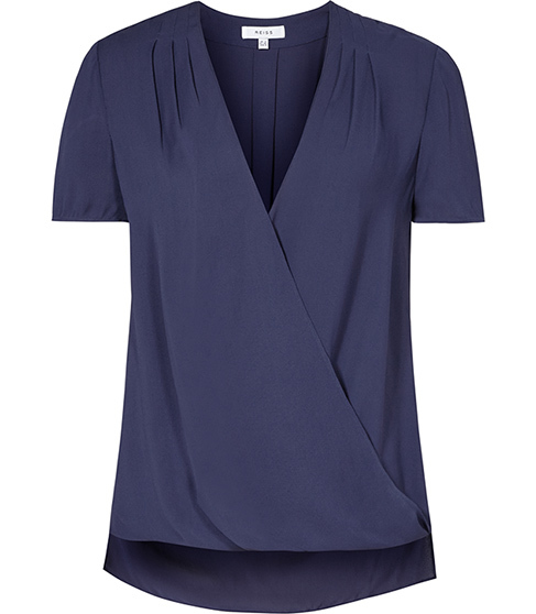 Bella Plisse Detail Wrap Top - neckline: v-neck; pattern: plain; style: wrap/faux wrap; predominant colour: navy; occasions: casual; length: standard; fibres: viscose/rayon - 100%; fit: body skimming; sleeve length: short sleeve; sleeve style: standard; pattern type: fabric; texture group: other - light to midweight; season: s/s 2016; wardrobe: basic