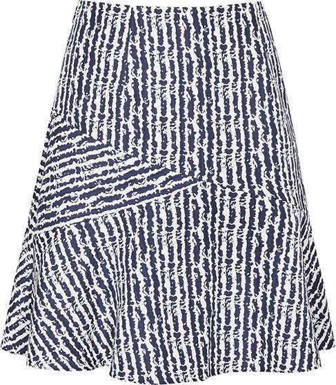 Gilly Textured Jacquard Skirt - length: mid thigh; pattern: striped; style: full/prom skirt; fit: loose/voluminous; waist: mid/regular rise; secondary colour: white; predominant colour: navy; occasions: casual, creative work; fibres: polyester/polyamide - mix; hip detail: subtle/flattering hip detail; pattern type: fabric; texture group: brocade/jacquard; pattern size: big & busy (bottom); season: s/s 2016; trends: graphic stripes; wardrobe: highlight