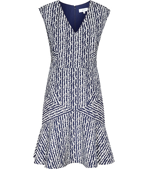 Gilles Jacquard Fit And Flare Dress - neckline: v-neck; sleeve style: sleeveless; secondary colour: white; predominant colour: navy; occasions: evening; length: just above the knee; fit: fitted at waist & bust; style: fit & flare; fibres: polyester/polyamide - stretch; sleeve length: sleeveless; pattern type: fabric; pattern: patterned/print; texture group: brocade/jacquard; multicoloured: multicoloured; season: s/s 2016; wardrobe: event