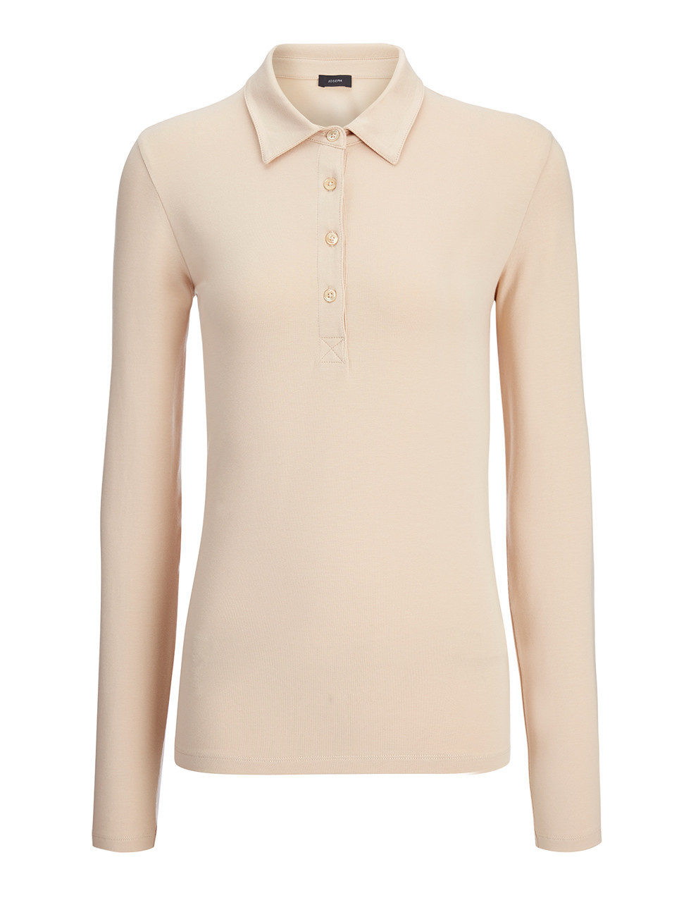 Cotton Lyocell Stretch Polo In Pearl - neckline: shirt collar/peter pan/zip with opening; pattern: plain; style: polo shirt; predominant colour: nude; occasions: casual; length: standard; fibres: cotton - stretch; fit: body skimming; sleeve length: long sleeve; sleeve style: standard; pattern type: fabric; texture group: jersey - stretchy/drapey; season: s/s 2016; wardrobe: basic