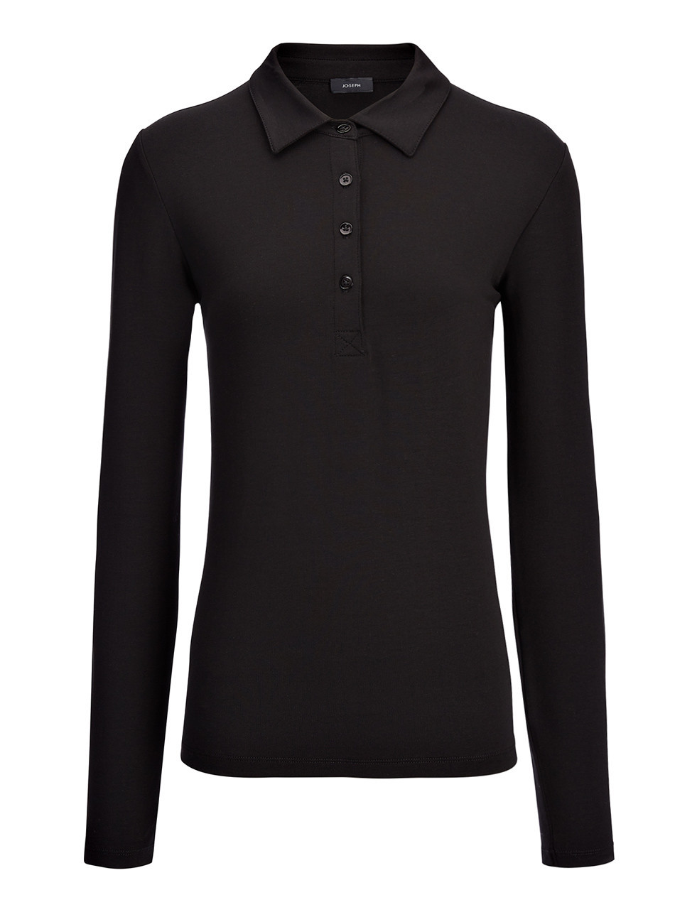Cotton Lyocell Stretch Polo In Black - neckline: shirt collar/peter pan/zip with opening; pattern: plain; style: polo shirt; predominant colour: black; occasions: casual; length: standard; fibres: cotton - stretch; fit: body skimming; sleeve length: long sleeve; sleeve style: standard; pattern type: fabric; texture group: jersey - stretchy/drapey; season: s/s 2016