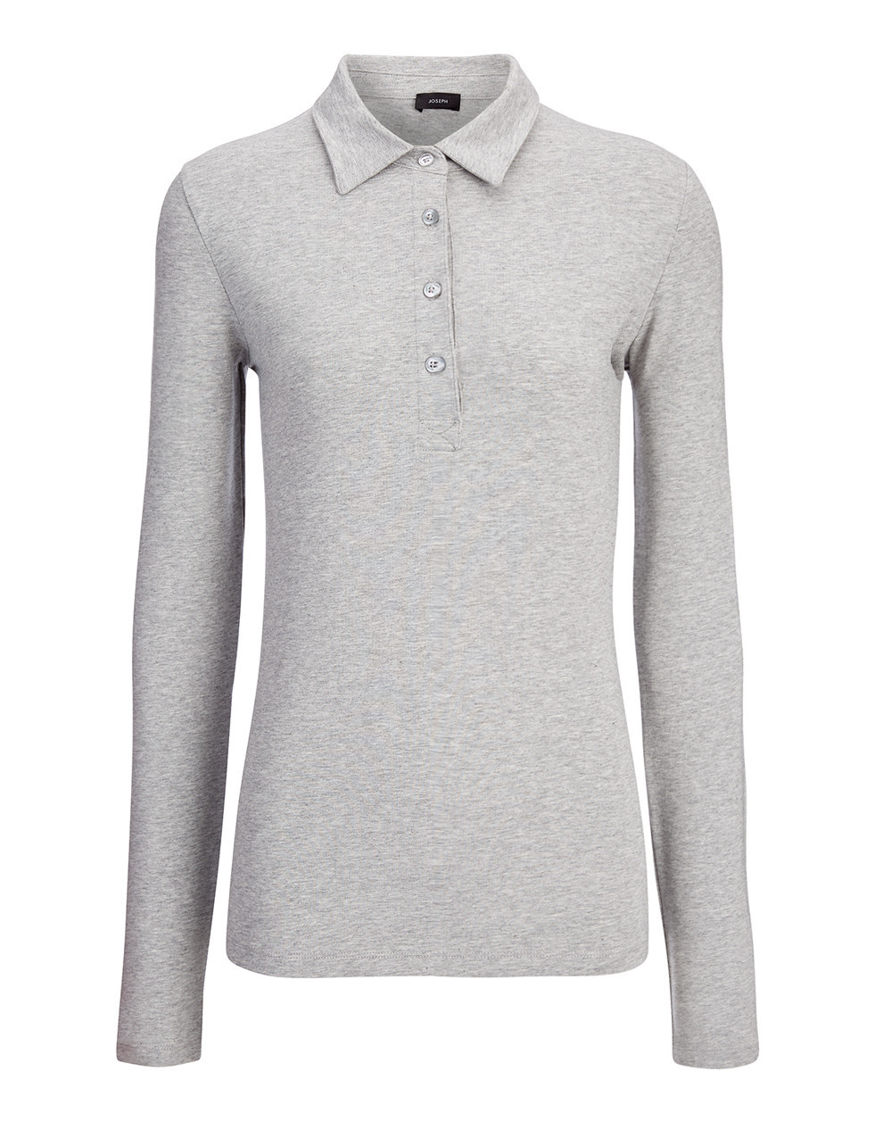 Cotton Lyocell Stretch Polo In Marble - neckline: shirt collar/peter pan/zip with opening; pattern: plain; style: polo shirt; predominant colour: mid grey; occasions: casual; length: standard; fibres: cotton - stretch; fit: body skimming; sleeve length: long sleeve; sleeve style: standard; pattern type: fabric; texture group: jersey - stretchy/drapey; season: s/s 2016; wardrobe: basic