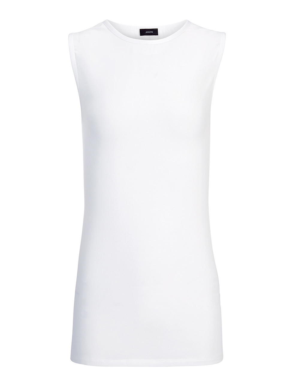 Cotton Lyocell Stretch Tank In White - neckline: round neck; pattern: plain; sleeve style: sleeveless; length: below the bottom; predominant colour: white; occasions: casual, creative work; style: top; fibres: cotton - 100%; fit: body skimming; sleeve length: sleeveless; pattern type: fabric; texture group: jersey - stretchy/drapey; season: s/s 2016; wardrobe: basic