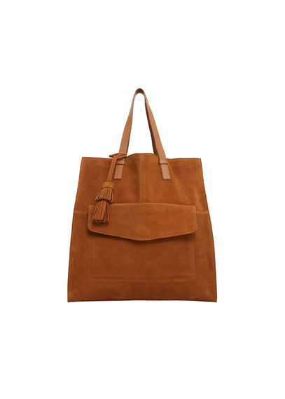 Leather Shopper Bag - predominant colour: tan; occasions: casual; type of pattern: standard; style: tote; length: shoulder (tucks under arm); size: standard; material: leather; pattern: plain; finish: plain; season: s/s 2016; wardrobe: highlight