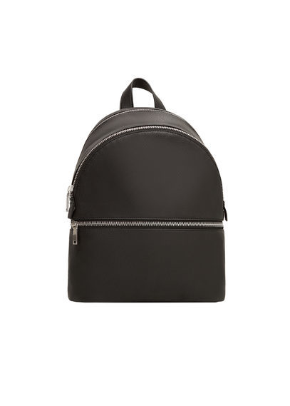 Zip Pebbled Backpack - predominant colour: black; occasions: casual; type of pattern: standard; style: rucksack; length: rucksack; size: standard; material: faux leather; pattern: plain; finish: plain; season: s/s 2016; wardrobe: basic
