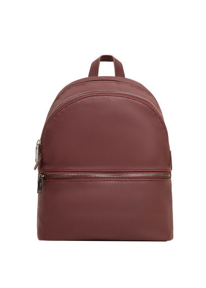 Zip Pebbled Backpack - predominant colour: burgundy; occasions: casual; type of pattern: standard; style: rucksack; length: rucksack; size: standard; material: faux leather; pattern: plain; finish: plain; season: s/s 2016; wardrobe: highlight