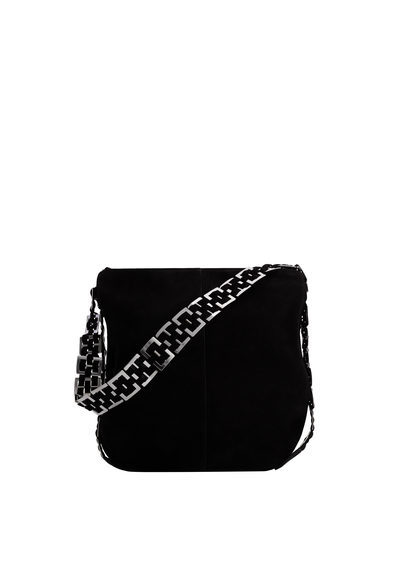 Appliqué Leather Bag - secondary colour: white; predominant colour: black; occasions: casual, creative work; type of pattern: standard; style: shoulder; length: shoulder (tucks under arm); size: small; material: leather; pattern: plain; finish: plain; embellishment: chain/metal; season: s/s 2016; wardrobe: investment