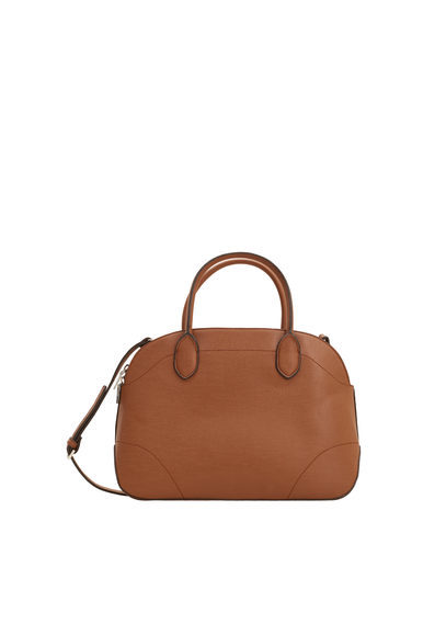 Saffiano Effect Cross Body Bag - predominant colour: tan; type of pattern: standard; style: tote; length: handle; size: standard; material: faux leather; pattern: plain; finish: plain; occasions: creative work; season: s/s 2016; wardrobe: highlight