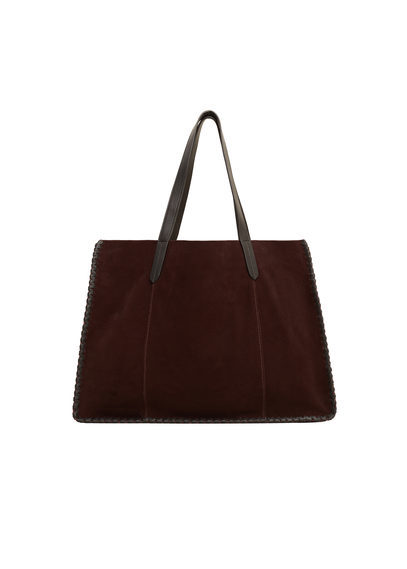 Braid Leather Bag - predominant colour: burgundy; type of pattern: standard; style: tote; length: shoulder (tucks under arm); size: oversized; material: suede; pattern: plain; finish: plain; occasions: creative work; season: s/s 2016; wardrobe: highlight
