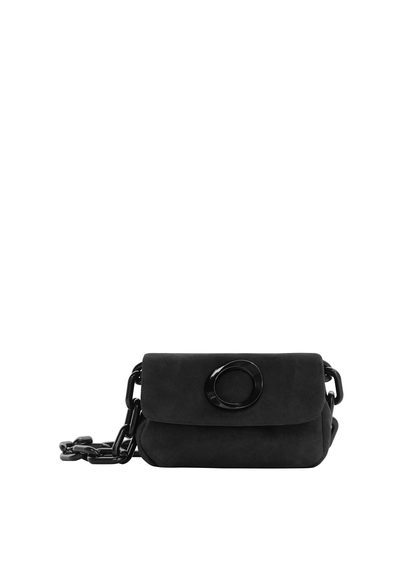 Chain Leather Bag - predominant colour: black; occasions: casual; type of pattern: standard; style: shoulder; length: shoulder (tucks under arm); size: small; material: faux leather; pattern: plain; finish: plain; embellishment: chain/metal; season: s/s 2016