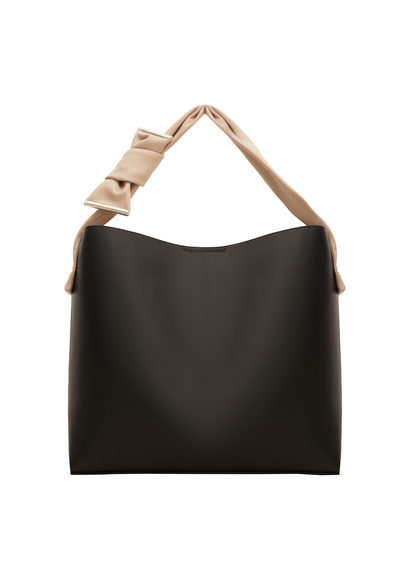 Contrasting Hobo Bag - secondary colour: nude; predominant colour: black; occasions: casual; type of pattern: standard; style: tote; length: shoulder (tucks under arm); size: standard; material: faux leather; pattern: plain; finish: plain; multicoloured: multicoloured; season: s/s 2016; wardrobe: investment