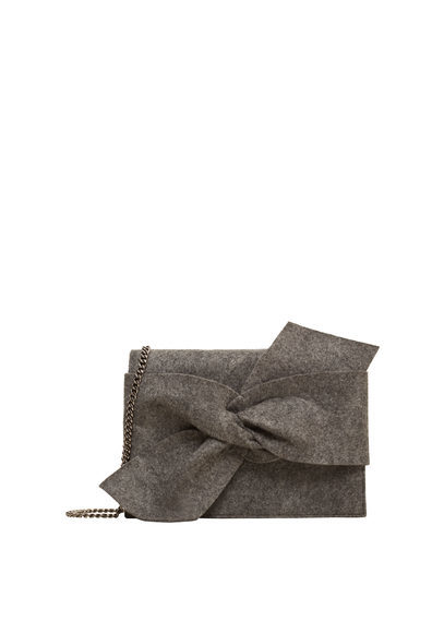 Knot Cross Body Bag - predominant colour: charcoal; occasions: casual; type of pattern: standard; style: messenger; length: hand carry; size: standard; material: fabric; pattern: plain; finish: plain; embellishment: bow; season: s/s 2016; wardrobe: highlight