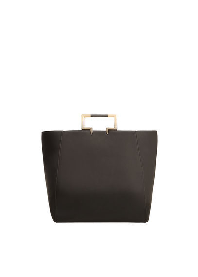 Metallic Handle Tote Bag - predominant colour: black; occasions: casual; type of pattern: standard; style: tote; length: handle; size: oversized; material: faux leather; pattern: plain; finish: plain; season: s/s 2016; wardrobe: investment
