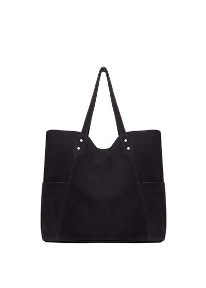 Leather Shopper Bag - predominant colour: black; occasions: casual, creative work; type of pattern: standard; style: tote; length: shoulder (tucks under arm); size: standard; pattern: plain; finish: plain; material: faux suede; season: s/s 2016; wardrobe: investment
