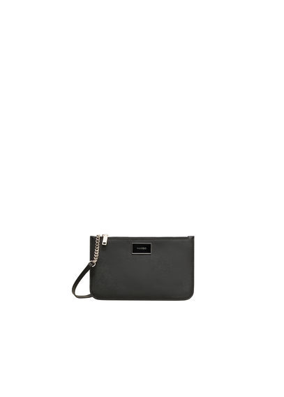 Cross Body Small Bag - predominant colour: black; occasions: casual; type of pattern: standard; style: shoulder; length: shoulder (tucks under arm); size: small; material: faux leather; pattern: plain; finish: plain; embellishment: chain/metal; season: s/s 2016; wardrobe: investment