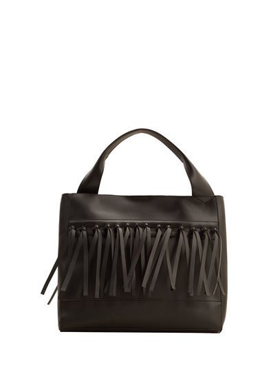 Fringe Hobo Bag - predominant colour: black; occasions: casual; type of pattern: standard; style: shoulder; length: shoulder (tucks under arm); size: standard; material: leather; embellishment: tassels; pattern: plain; finish: plain; season: s/s 2016; wardrobe: investment