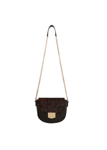 Leopard Leather Cross Body Bag - predominant colour: black; type of pattern: light; style: shoulder; length: across body/long; size: small; material: leather; pattern: animal print; finish: plain; occasions: creative work; season: s/s 2016