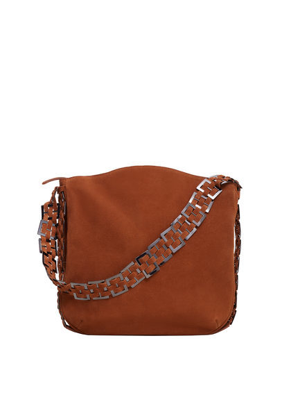 Appliqué Leather Bag - predominant colour: tan; occasions: casual, creative work; type of pattern: standard; style: shoulder; length: shoulder (tucks under arm); size: small; material: leather; pattern: plain; finish: plain; season: s/s 2016; wardrobe: highlight
