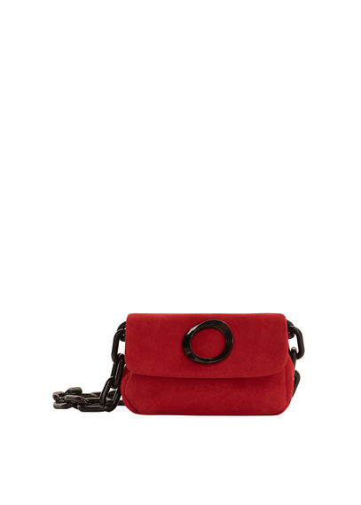 Chain Leather Bag - predominant colour: true red; occasions: casual; type of pattern: standard; style: messenger; length: shoulder (tucks under arm); size: small; material: leather; pattern: plain; finish: plain; embellishment: chain/metal; season: s/s 2016