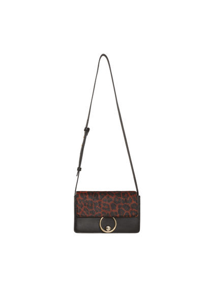 Leopard Leather Cross Body Bag - secondary colour: chocolate brown; predominant colour: black; occasions: casual; type of pattern: standard; style: messenger; length: across body/long; size: standard; material: leather; pattern: animal print; finish: plain; multicoloured: multicoloured; season: s/s 2016; wardrobe: highlight