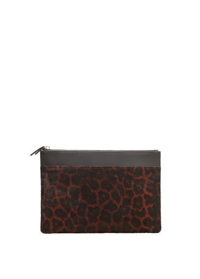 Leopard Leather Cross Body Bag - predominant colour: tan; secondary colour: black; occasions: casual, creative work; type of pattern: light; style: clutch; length: across body/long; size: small; material: leather; pattern: animal print; finish: plain; season: s/s 2016; wardrobe: highlight