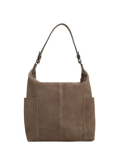 Leather Hobo Bag - predominant colour: stone; occasions: casual; type of pattern: standard; style: shoulder; length: shoulder (tucks under arm); size: standard; material: leather; pattern: plain; finish: plain; season: s/s 2016; wardrobe: investment