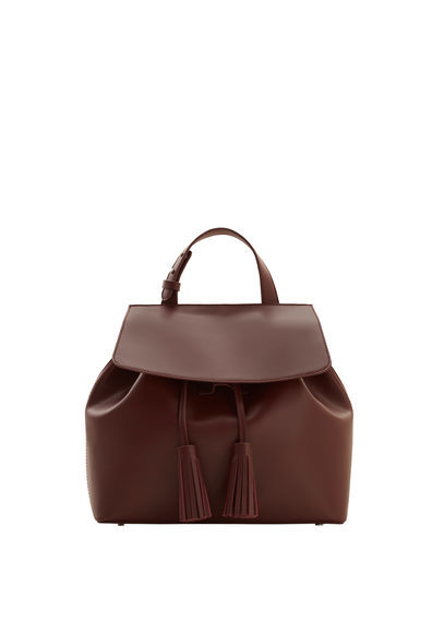 Front Lapel Backpack - predominant colour: tan; occasions: casual, creative work; type of pattern: standard; style: rucksack; length: rucksack; size: standard; material: faux leather; pattern: plain; finish: plain; season: s/s 2016; wardrobe: highlight
