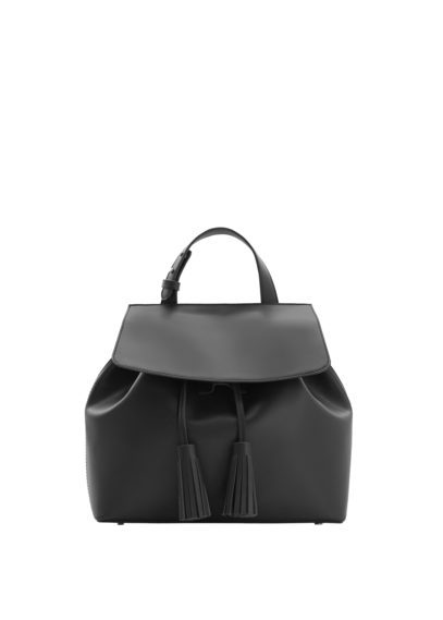 Front Lapel Backpack - predominant colour: black; occasions: casual, creative work; type of pattern: standard; style: rucksack; length: rucksack; size: standard; material: leather; pattern: plain; finish: plain; season: s/s 2016; wardrobe: basic
