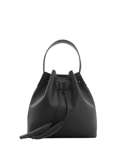 Tassel Hobo Bag - predominant colour: black; occasions: casual; type of pattern: standard; style: onion bag; length: handle; size: standard; material: faux leather; pattern: plain; finish: plain; season: s/s 2016; wardrobe: investment