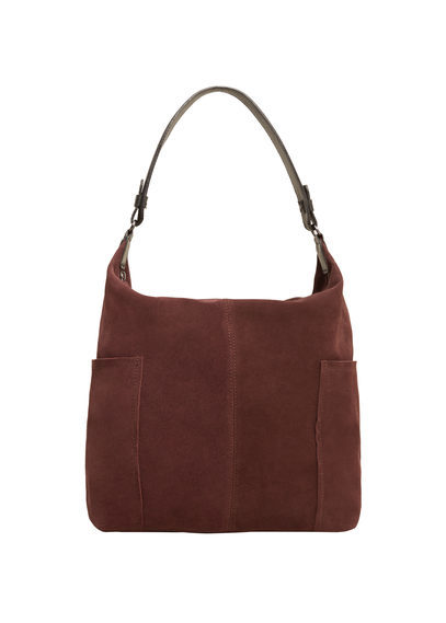 Leather Hobo Bag - predominant colour: chocolate brown; occasions: casual; type of pattern: standard; style: shoulder; length: shoulder (tucks under arm); size: standard; material: leather; pattern: plain; finish: plain; season: s/s 2016; wardrobe: investment