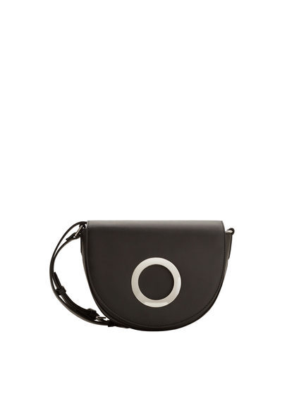 Appliqué Cross Body Bag - predominant colour: black; occasions: casual; type of pattern: standard; style: messenger; length: across body/long; size: small; material: faux leather; pattern: plain; finish: plain; season: s/s 2016