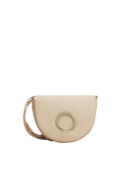 Appliqué Cross Body Bag - predominant colour: ivory/cream; occasions: casual; type of pattern: standard; style: messenger; length: across body/long; size: small; material: faux leather; pattern: plain; finish: plain; season: s/s 2016