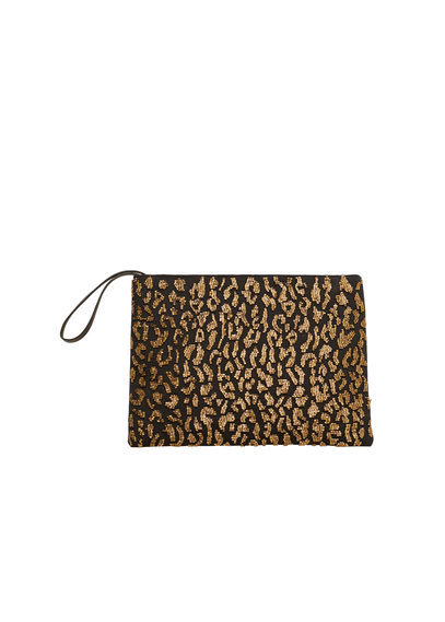 Embroidered Clutch - secondary colour: gold; predominant colour: black; occasions: evening; type of pattern: standard; style: grab bag; length: hand carry; size: small; material: fabric; pattern: animal print; finish: plain; embellishment: lace; multicoloured: multicoloured; season: s/s 2016; wardrobe: event