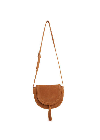 Leather Cross Body Bag - predominant colour: camel; occasions: casual; type of pattern: standard; style: messenger; length: across body/long; size: small; material: leather; pattern: plain; finish: plain; season: s/s 2016; wardrobe: basic