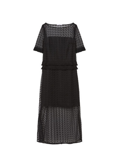 Open Work Dress - style: shift; length: calf length; neckline: slash/boat neckline; fit: tailored/fitted; waist detail: peplum waist detail; predominant colour: black; occasions: evening, occasion; fibres: polyester/polyamide - 100%; sleeve length: half sleeve; sleeve style: standard; texture group: lace; pattern type: fabric; pattern: patterned/print; shoulder detail: sheer at shoulder; season: s/s 2016; wardrobe: event