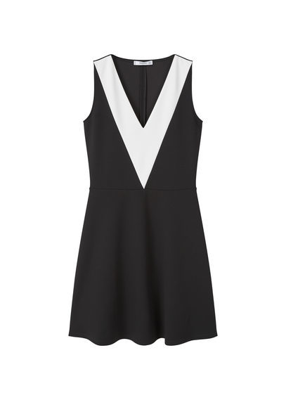 Bicolor Dress - neckline: v-neck; pattern: plain; sleeve style: sleeveless; secondary colour: white; predominant colour: black; occasions: casual; length: just above the knee; fit: fitted at waist & bust; style: fit & flare; fibres: polyester/polyamide - 100%; sleeve length: sleeveless; trends: monochrome; pattern type: fabric; texture group: jersey - stretchy/drapey; season: s/s 2016; wardrobe: basic