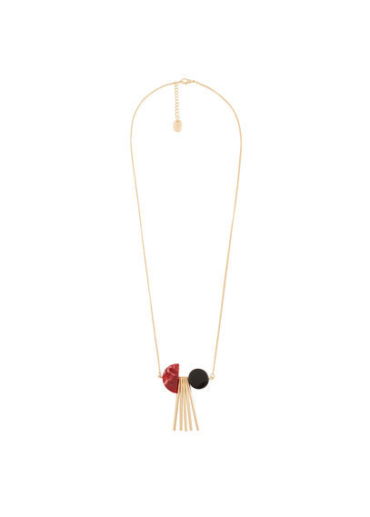 Pendant Long Necklace - secondary colour: true red; predominant colour: gold; occasions: casual; style: pendant; length: long; size: standard; material: chain/metal; finish: plain; embellishment: tassels; multicoloured: multicoloured; season: s/s 2016; wardrobe: basic