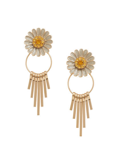 Floral Earrings - secondary colour: ivory/cream; predominant colour: gold; occasions: evening; style: drop; length: long; size: large/oversized; material: chain/metal; fastening: pierced; finish: metallic; multicoloured: multicoloured; season: s/s 2016; wardrobe: event