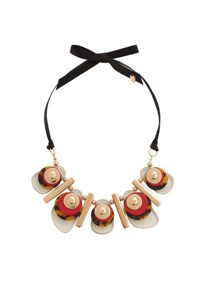 Mixed Piece Necklace - predominant colour: true red; occasions: evening, occasion; length: mid; size: large/oversized; finish: plain; material: faux leather; embellishment: jewels/stone; style: bib/statement; season: s/s 2016; wardrobe: event