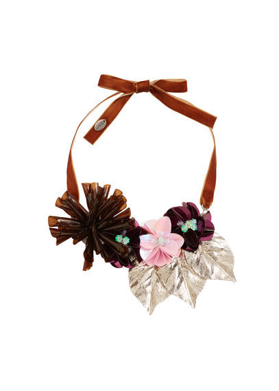Flower Necklace - predominant colour: burgundy; occasions: evening, occasion, creative work; style: choker/collar/torque; length: choker; size: large/oversized; material: fabric/cotton; finish: plain; multicoloured: multicoloured; season: s/s 2016; wardrobe: highlight