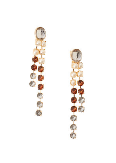 Faceted Crystal Earring - predominant colour: gold; occasions: evening, occasion; style: drop; length: long; size: standard; material: chain/metal; fastening: pierced; finish: plain; embellishment: jewels/stone; multicoloured: multicoloured; season: s/s 2016; wardrobe: event