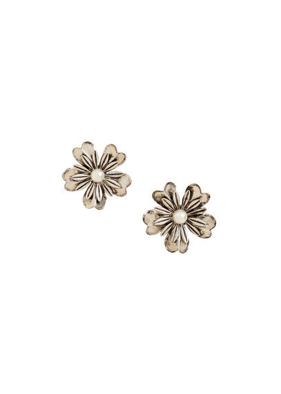 Floral Earrings - predominant colour: gold; occasions: evening, occasion; style: stud; length: short; size: standard; material: chain/metal; fastening: pierced; finish: metallic; embellishment: pearls; season: s/s 2016; wardrobe: event