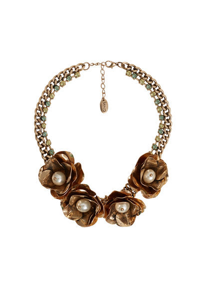 Flower Necklace - predominant colour: gold; occasions: evening; length: mid; size: large/oversized; material: chain/metal; finish: metallic; style: bib/statement; season: s/s 2016