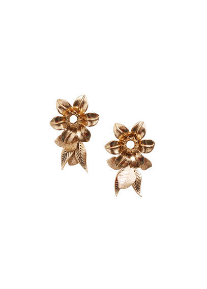 Floral Earrings - predominant colour: gold; occasions: evening, occasion; style: stud; length: mid; size: large/oversized; material: chain/metal; fastening: pierced; finish: metallic; season: s/s 2016; wardrobe: event