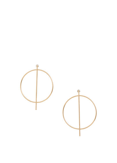 Hoop Earrings - predominant colour: gold; occasions: casual; style: hoop; length: mid; size: large/oversized; material: chain/metal; fastening: pierced; finish: metallic; season: s/s 2016; wardrobe: basic