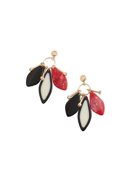 Mixed Pieces Earrings - secondary colour: true red; predominant colour: black; occasions: evening; style: chandelier; length: mid; size: large/oversized; material: chain/metal; fastening: pierced; finish: metallic; multicoloured: multicoloured; season: s/s 2016; wardrobe: event